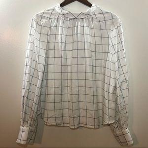 Joie Pitrel Plaid Tie Neck Blouse Size Large